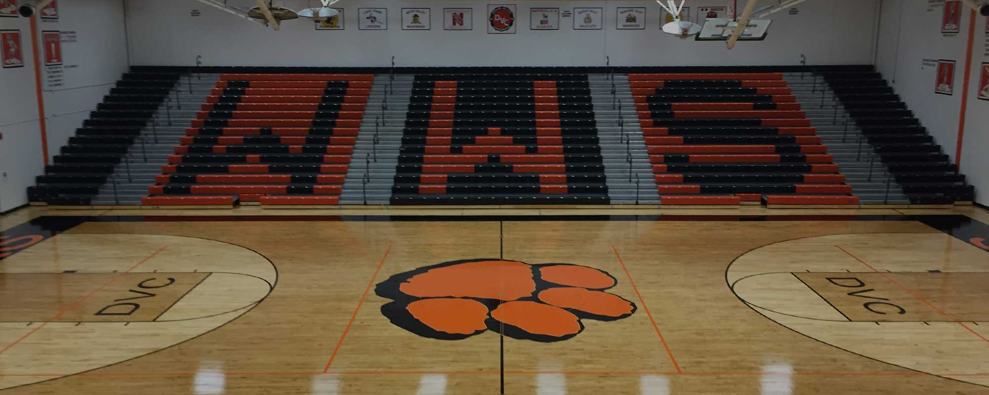 Larson Company - Home Slider - Wheaton Warrenville South - Gymnasium Bleachers